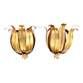 Hollywood Recency Style Italian Gilt Sconces- A Pair
