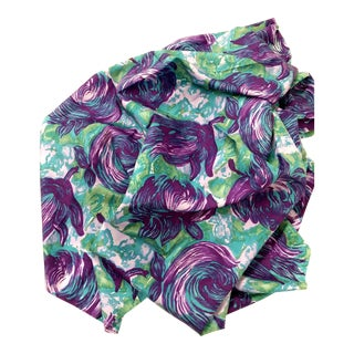 Pure Silk Shantung Printed Purple Flowered Fabric