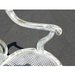 Image of French White Cane Accent Arm Chair on Castors