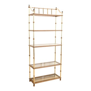 HOLLYWOOD REGENCY VINTAGE GOLD ETAGERE BOOKSHELF