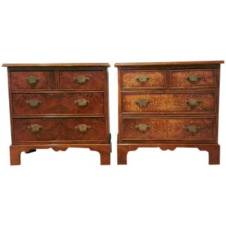Antique Georgian Style Walnut Chests - A Pair