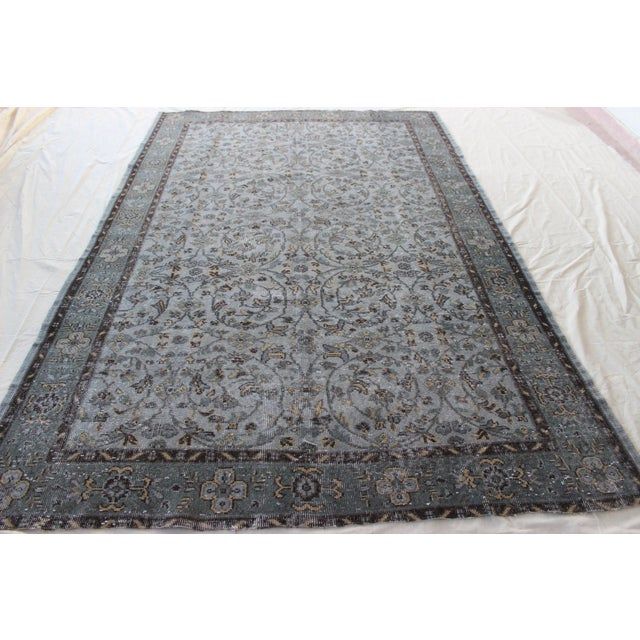 "Vintage Gray Turkish Over-Dyed Rug - 6' x 9'3"" - Image 3 of 10"