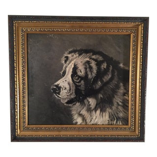 Antique English Dog Oil Painting
