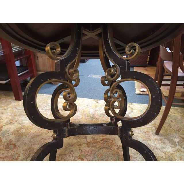 Henredon Highlands Leather Top Round End Table - Image 9 of 10