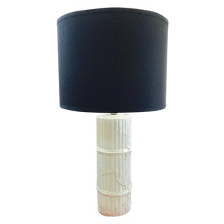 Vintage White Ceramic Bamboo Style Table Lamp