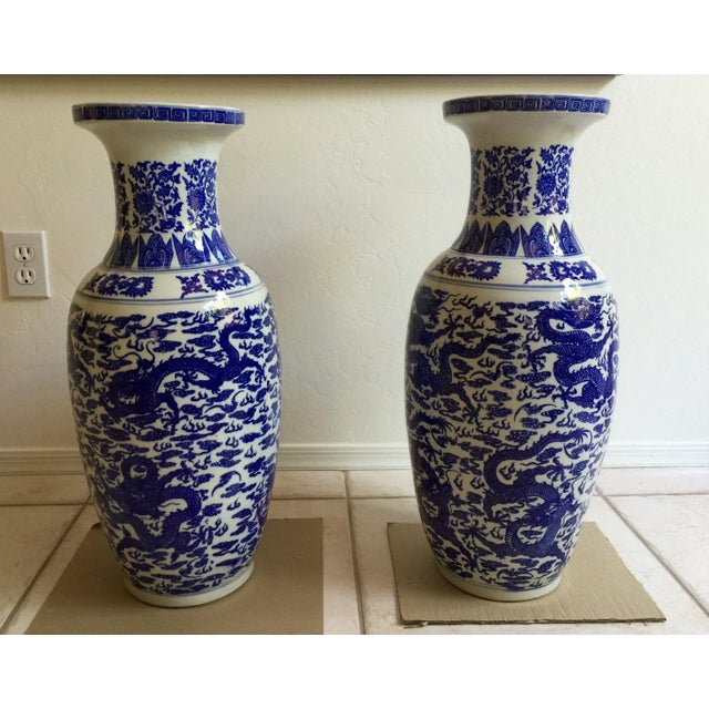 Chinese Blue & White Vases - Pair - Image 2 of 5