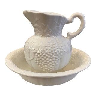 Mid-Century Ceramic Cream Pitcher & Basin Set