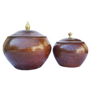 Hammered Copper Pots - A Pair