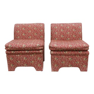 Vintage Chinoiserie Style Fully Upholstered Slipper Chairs - a Pair