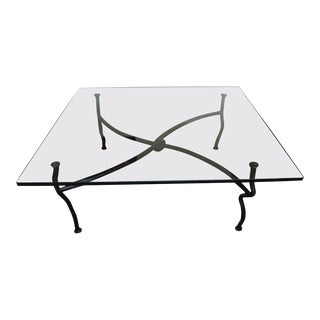 Square Glass Coffee Table on a Bent Bronze Base