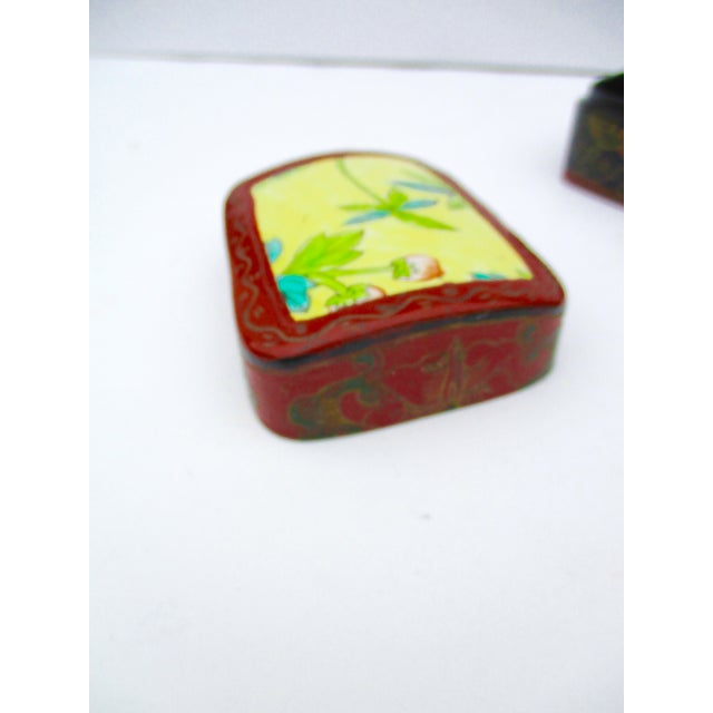 Asian Lacquer Porcelain Boxes - Set of 3 - Image 7 of 10