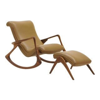 Vladimir Kagan Contour Rocker with Ottoman, Holly Hunt Leather, Excellent