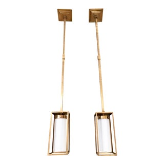 Visual Comfort Easterly Brass Pendants - A Pair