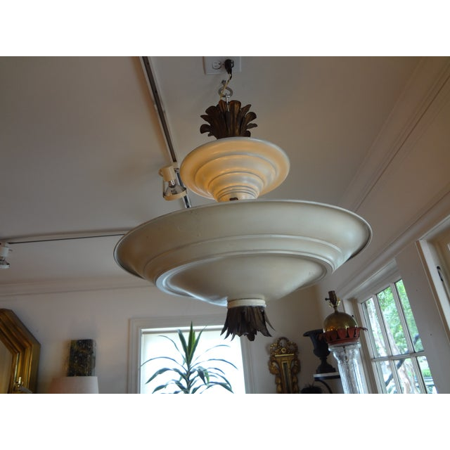 French Art Deco Tole & Bronze Chandelier - Image 7 of 7