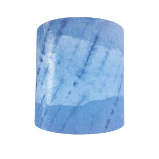 Indigo Blue Linen Modern Drum Lamp Shade