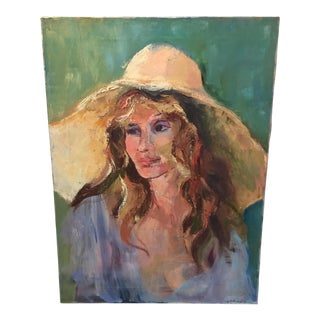 Girl With Hat Original Oil Painting
