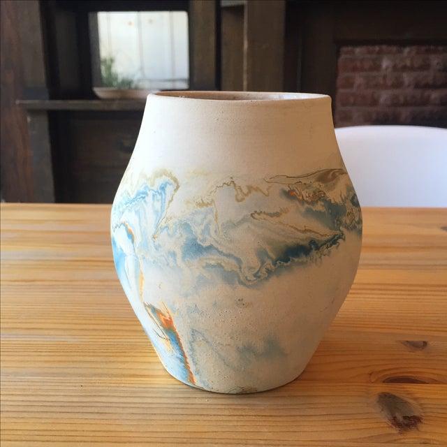 Vintage Blue and Orange Nedmadji Pottery Vase - Image 4 of 11
