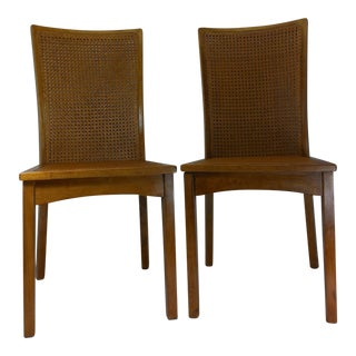 Scandinavian Mid-Century Modern Cane Side Chairs- A Pair