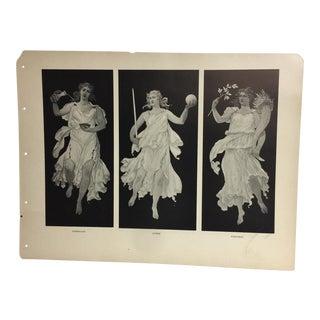 Art Nouveau Print of Minerva & Virtues