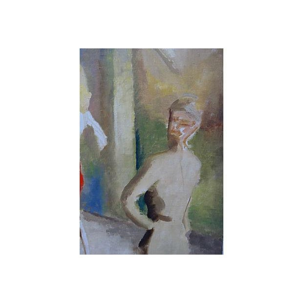Mid-Century WWII 40's Figural Abstract Painting - Image 3 of 4