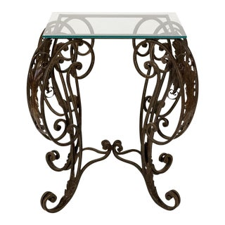 Ornate Cast Iron Table with Glass Top