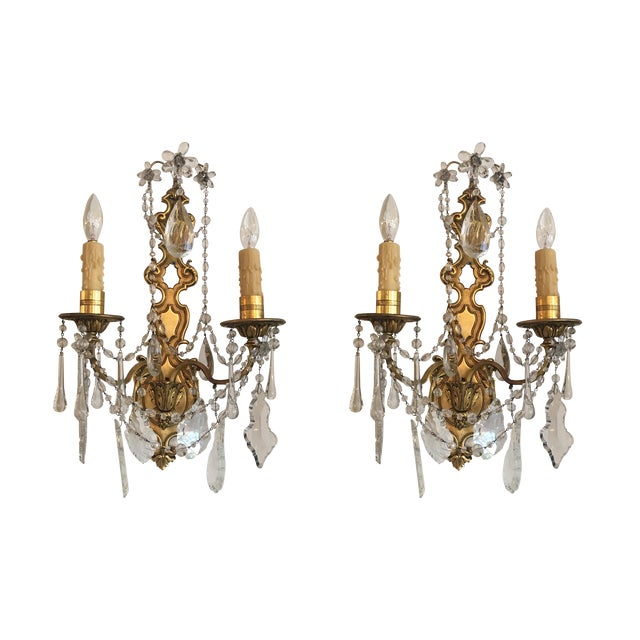 Bronze and Crystal Sconces - A Pair - Image 1 of 6