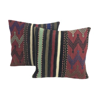 Turkish Striped Kilim Throw Pillows With Feather Inserts - A Pair