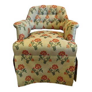 Designer Upholstered Low Arm Chair on Casters