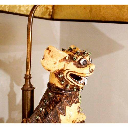 Chinese Yellow Glazed Ceramic Foo Dog Lamp - Image 7 of 9