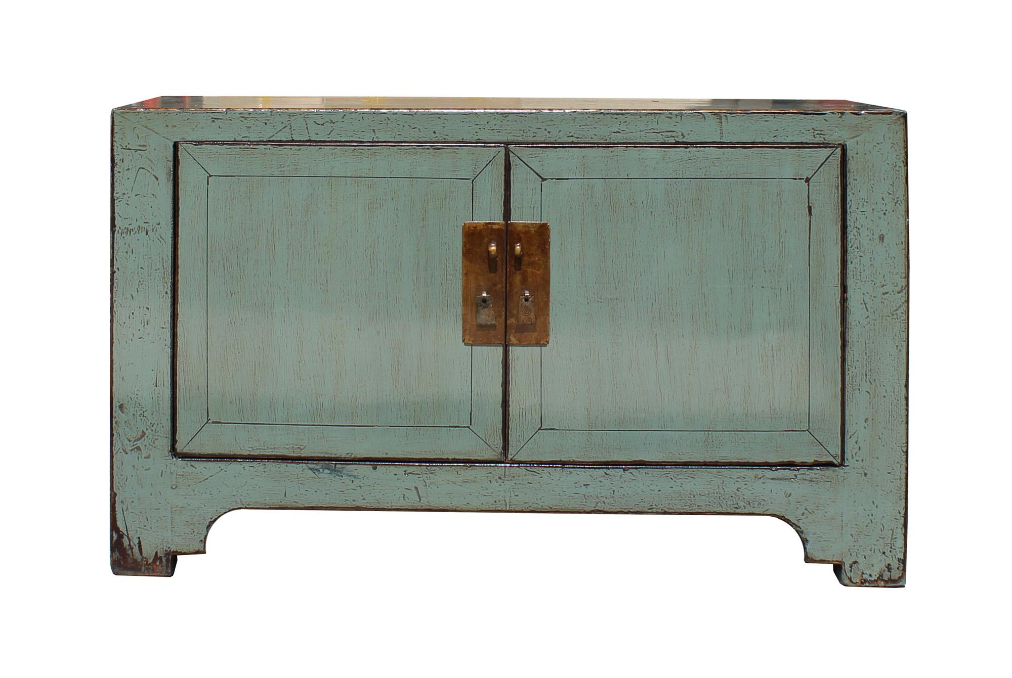 Chinese Distressed Gray Low TV Console Table Cabinet   Image 2 Of 7