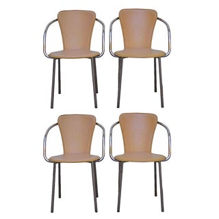 Italian Chrome & Leather Dining Chairs - Set of 4