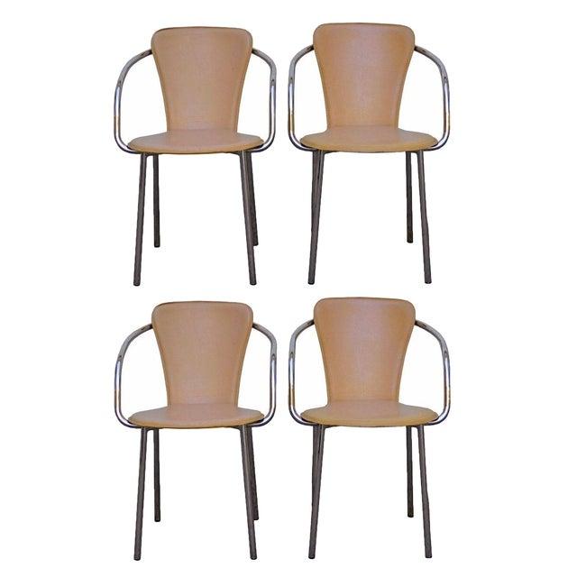 Italian Leather Dining Chairs: Italian Chrome & Leather Dining Chairs - Set Of 4