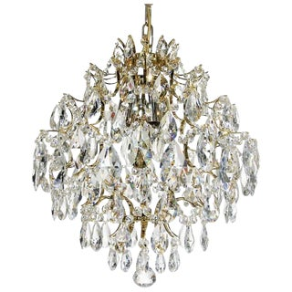 Retro Chandelier - Brass & Clear Drop Aladdin