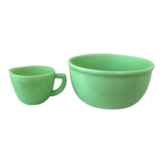 Jadeite Kitchen Bowl & Measuring Cup - A Pair