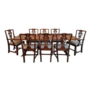 Black Walnut Inlay & Chippendale Style Dining Set