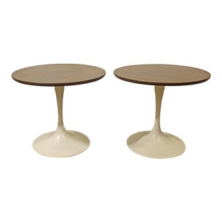 Mid-Century Danish Modern Saarinen Style Tulip End Tables - a Pair