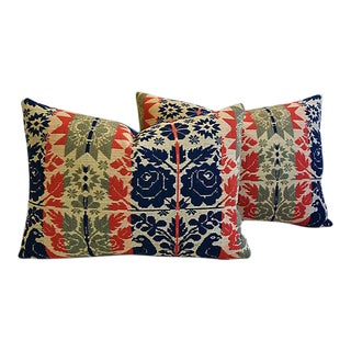 19th-C. New England Coverlet Feather/Down Pillows – Pair