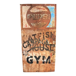 "Vintage Original ""Catfish House & Gym"" Pepsi Advertising Sign"