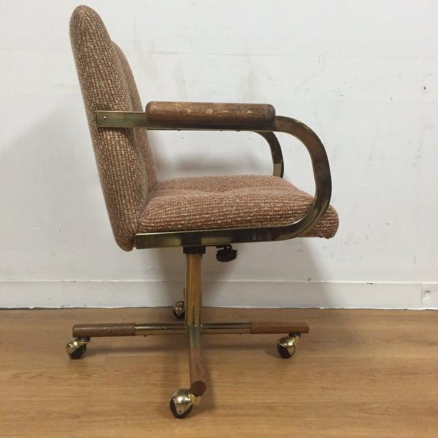 Milo Baughman Style Brass Office Desk Chair - Image 3 of 11
