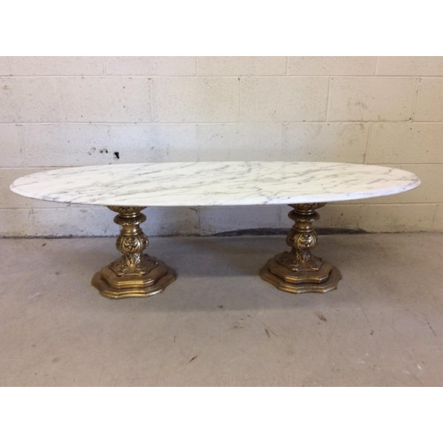 Fuggiti Studios Italian Carrara Marble & Gold Gilt Coffee Table - Image 2 of 11