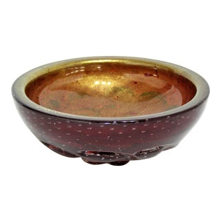 Vintage Barovier & Toso Murano Gold & Red Bowl- 1950s Italian Mid Century Modern Italy MCM