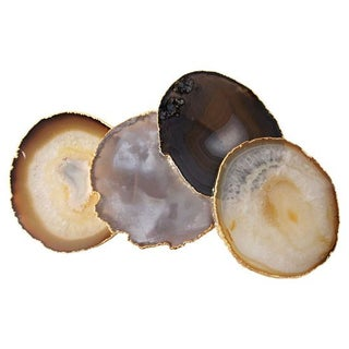 Agate Coasters With Gold Rims - Set of 4
