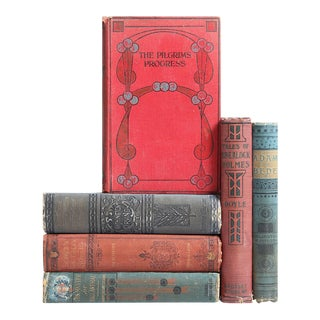 Marsala & Prussian Blue Antique Classic Books - Set of 6
