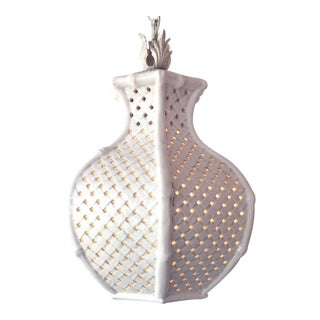 1960's Ceramic Basket Weave Pendant Light