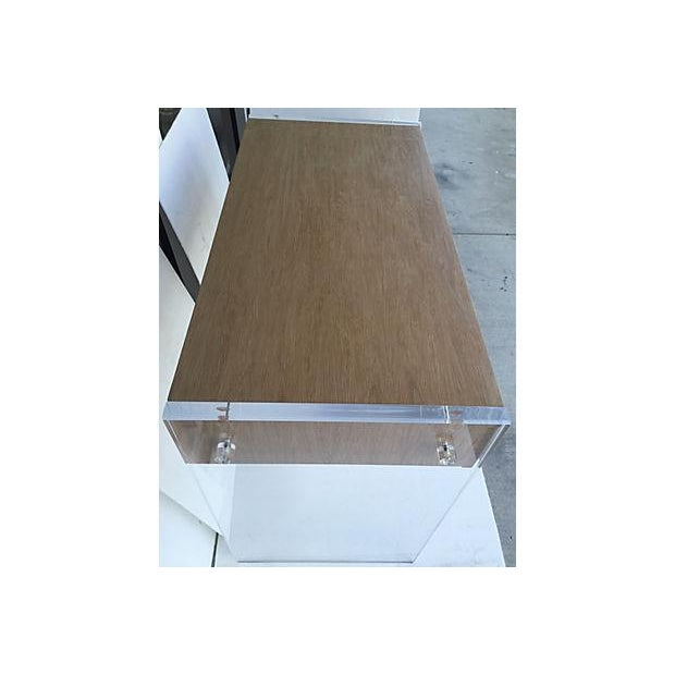 Mid-Century Veneer Wood and Lucite Desk/Vanity - Image 6 of 7