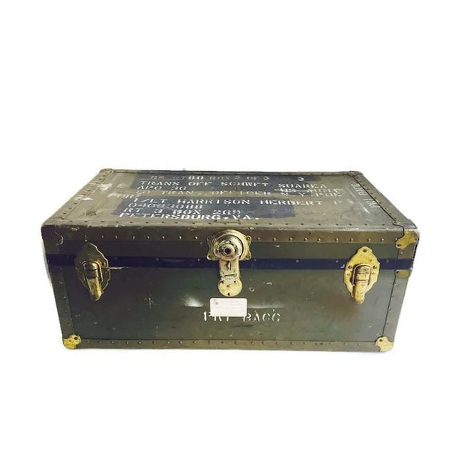 Image of Vintage Military Footlocker Army Trunk