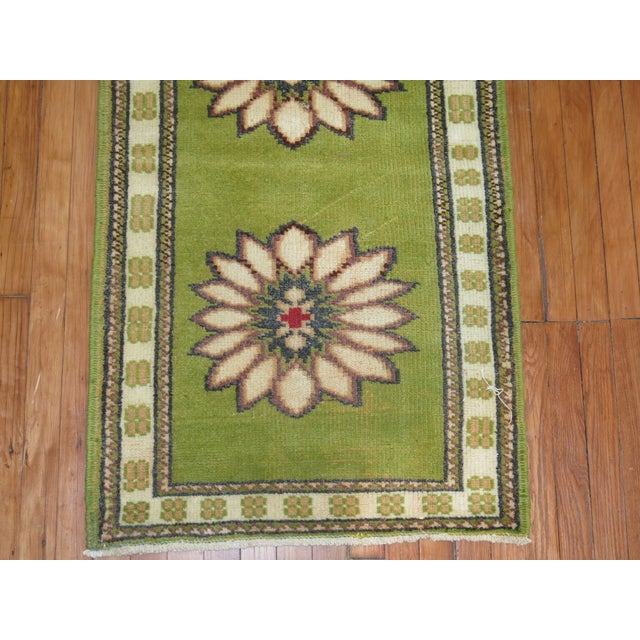 Lime Green Vintage Konya Runner - 2'4'' X 11'4'' - Image 5 of 5