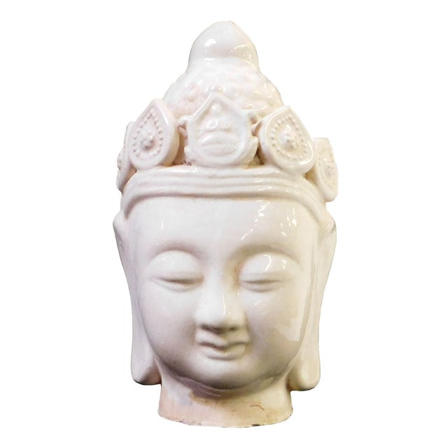 Chinese Ceramic Clay Kwan Yin Head Figure - Image 1 of 7
