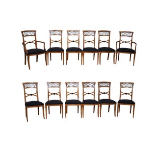 Century Biedermeier Style Dining Chairs - Set of 12