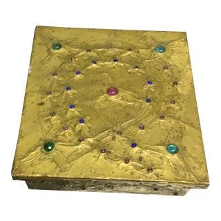 Antique Semi Precious Stone Inlaid Metal Box